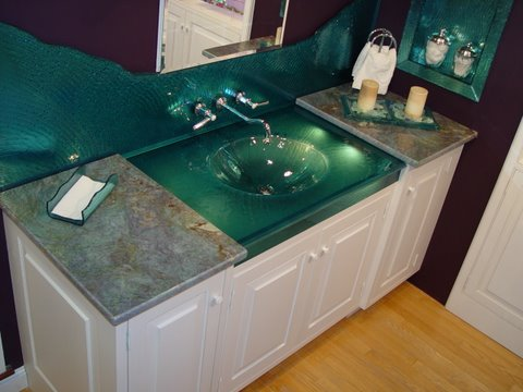 Custom Monique Glass One Piece Sink Vanity Top & Backsplash