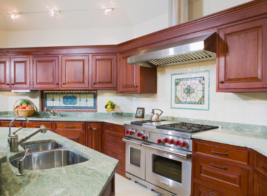cherry-cabinets-hamilton-with-leaded-stained-glass-window