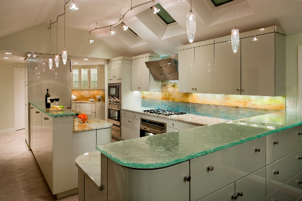 custom-contemporary-kitchen-metallic-paint-top-led-lit-hand-painted-sunset-over-the-ocean-multi-layer-fused-glass-backsplash