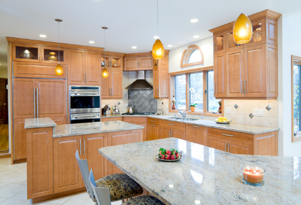Interior Maple Kitchens stained maple kitchen giallo veneziano granite with a stainless post comment cancel reply