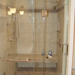 Custom Shower with Steam, body sprays, Stone Tile Floor & matching border & Shivikashi Granite Seat