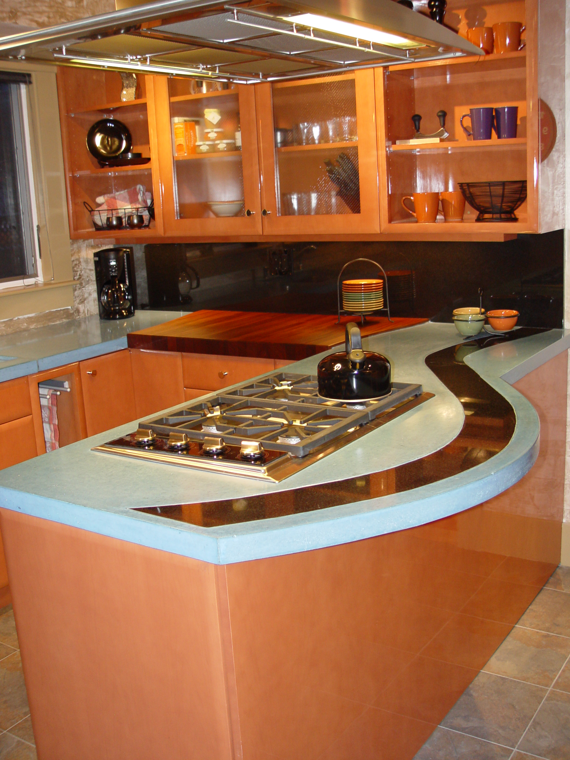 ... Custom Dyed Concrete Countertop With Absolute Black Granite Inlay ,  Custom Shape Mahogany Solid Wood With ...