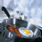Bacon and Eggs in Frying Pan